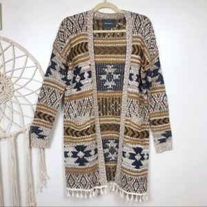 Lovemarks Knit Aztec Tassel Cardigan Sweater